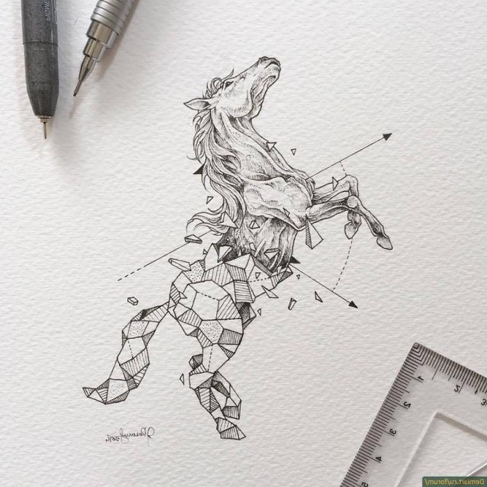zeichnen lernen, pferd in kombiantion mit goemetrischen motiven, pfeile, fallende stücke