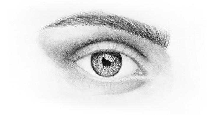 zeichnen lernen schritt für schritt, realitische frauenauge, schwarz grau