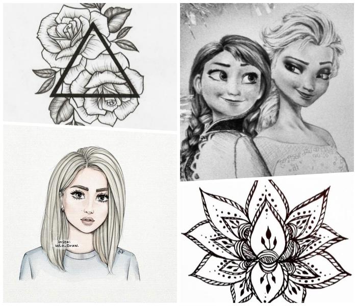zeichnen lernen schritt für schritt, zwei rosen mit dreieck, lotusblume, mädchen mit schulterllangen haaren