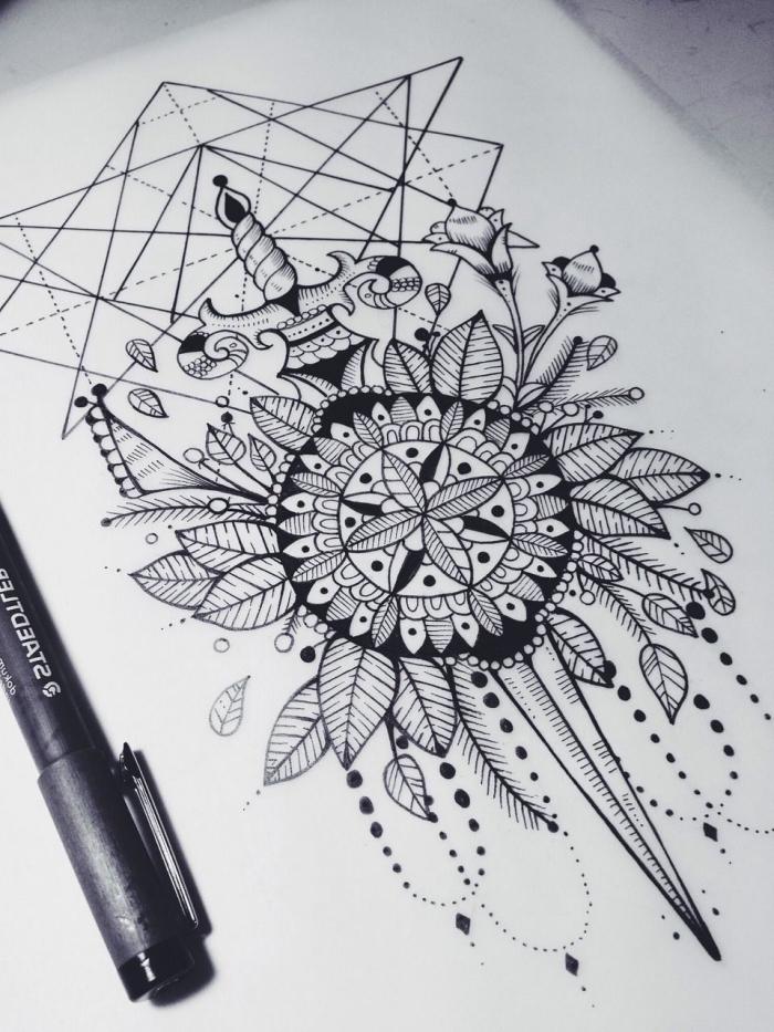 schwart mit blättern und geometrischen mtoiven, zeichnen lernen schritt für schritt, kompass