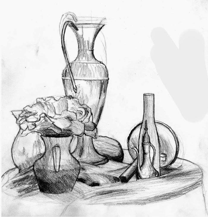 zeichnen lernen schritt für schritt, vase mit blumen, verschiedene objekte am tisch