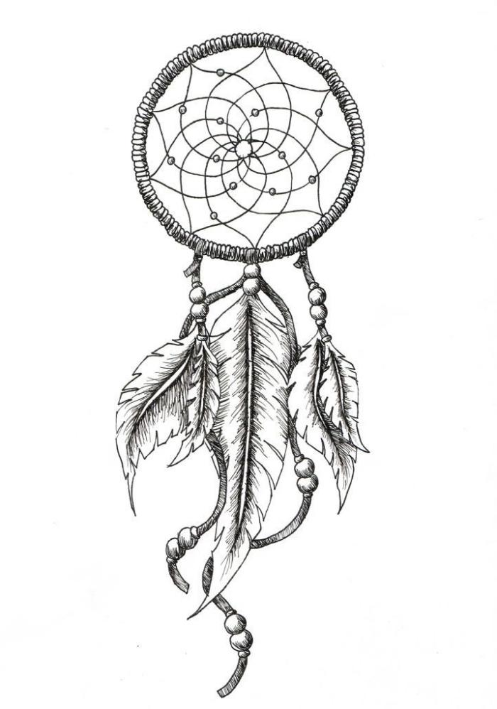 zeichnen lernen schritt für schritt, wie zeichnet man traumfänger, große feder, indianer schmuck