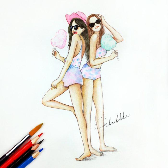zwei Mädchen mit rosa und blauer Badeanzug, mit Sonnenbrillen, schöne Bilder zum Abzeichnen