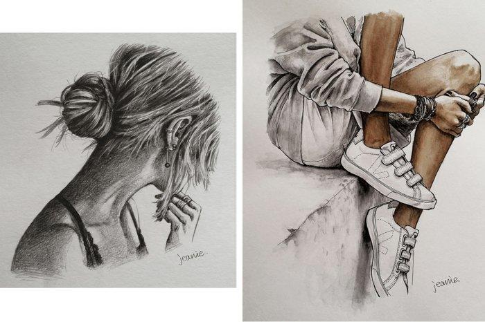 zwei Bilder von Mädchen, schöne Bilder zum Abzeichnen, ein Mädchen mit einem Hemd