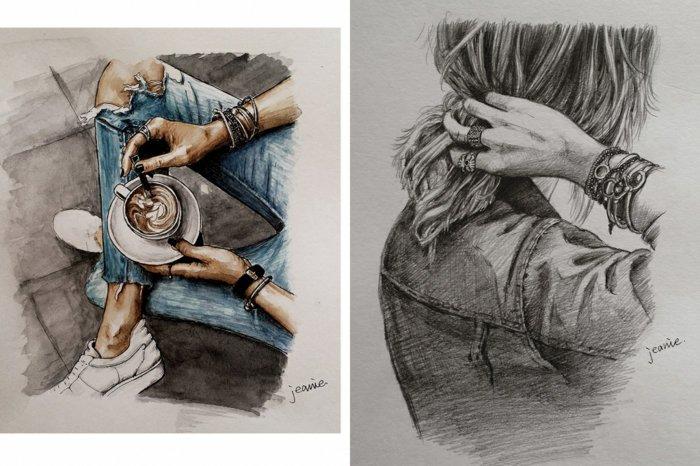 zwei Zeichnungen mit Denim Bluse und Hosen, zwei Hände mit Armbänder, schöne Bilder zum Abzeichnen