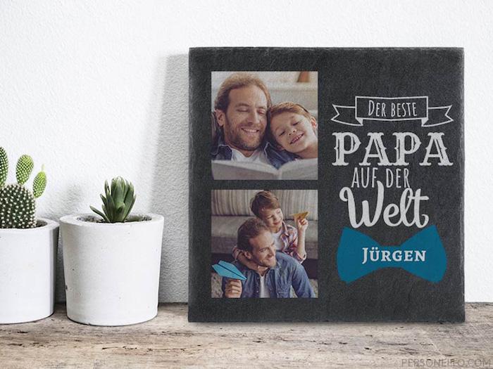 Schieferplate mit familienfotos