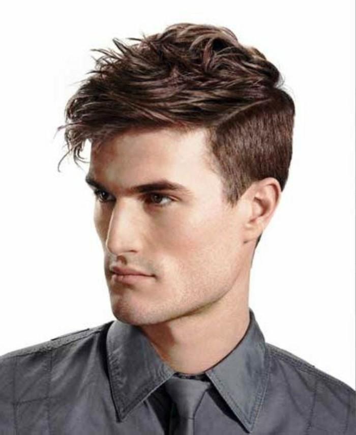 männerfrisuren style ideen, haare nach vorne stylen, bisschen durchgemischt, hemd und krawatte