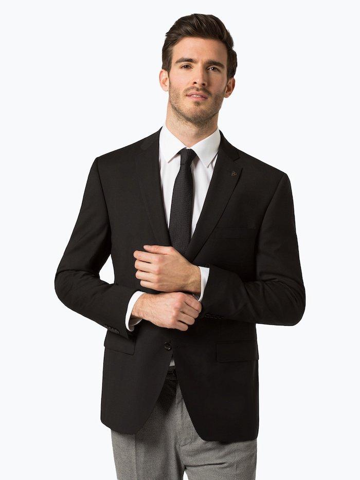 Den perfekten Anzug finden, schwarzes Sakko, weißes Hemd, schwarze Krawatte, graue Hose