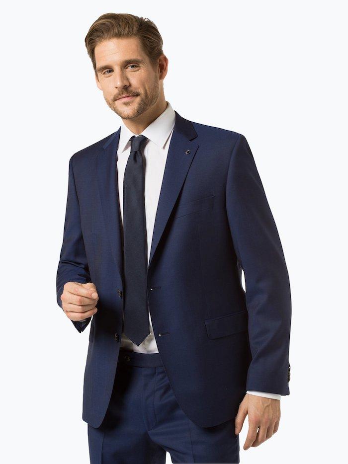 Anzug-Guide für Herren, letzte Tendenzen in Herrenmode, dunkelblauer Herrenanzug, weißes Hemd