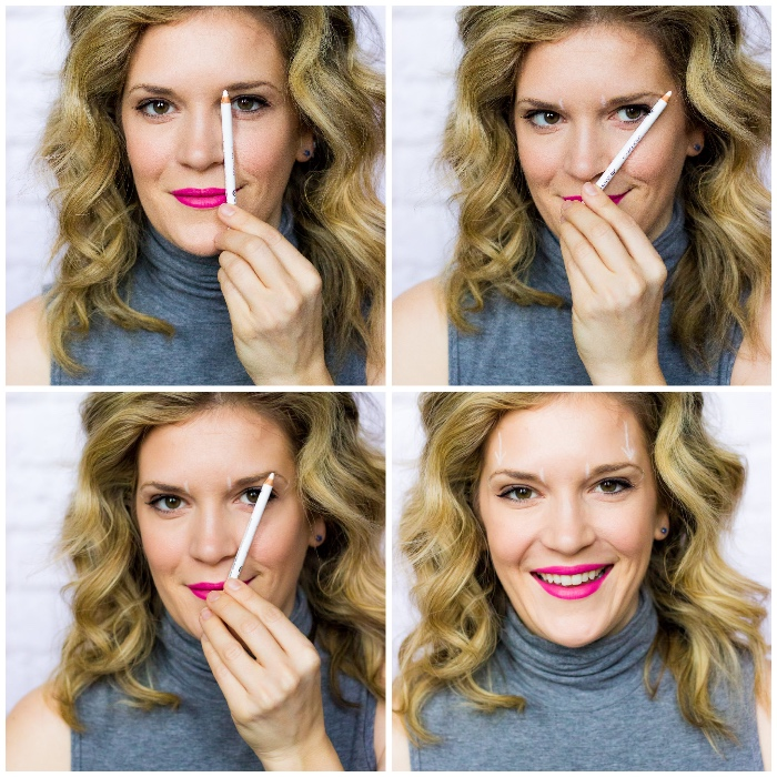 rosa lippenstift, make up tutorial, weißer stift, augenbrauen gesichtsform anpassen