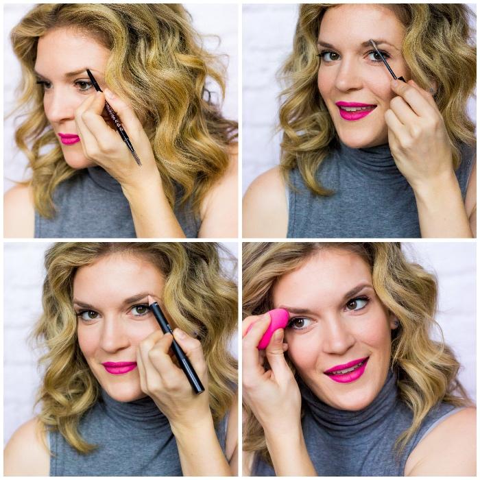 augenbrauen malen mit stift, rosa lippenstift, lockige schulterllange haare, frisur mit locken