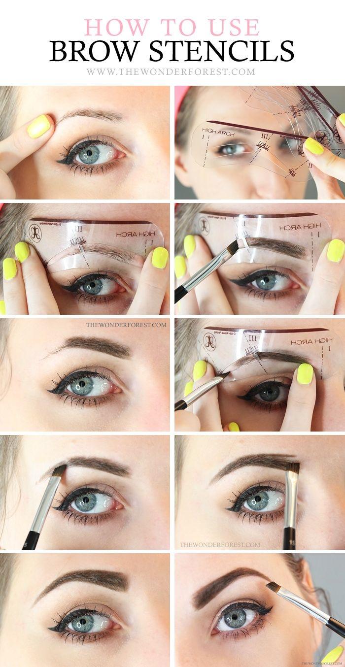 augenbrauen schminken mit puder, gelber nagellack, blaue augen, perfektes make up anleitung