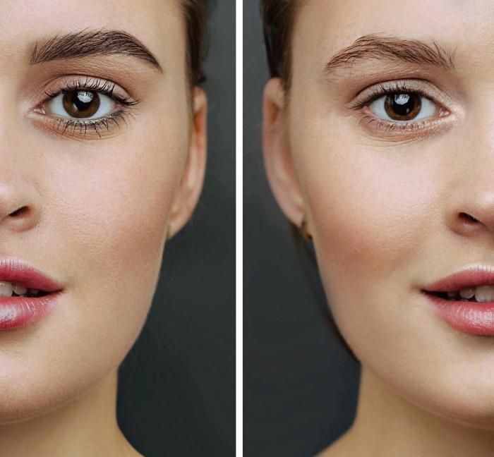 augenbrauen schminken mit puder tutorial, große braune augen, fotos vor und nach