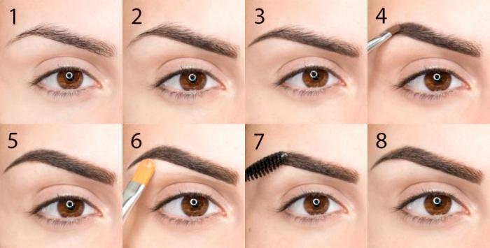 augenbrauen schminken tutorial, braune augen, brauner augenbrauenpuder, make up tipps