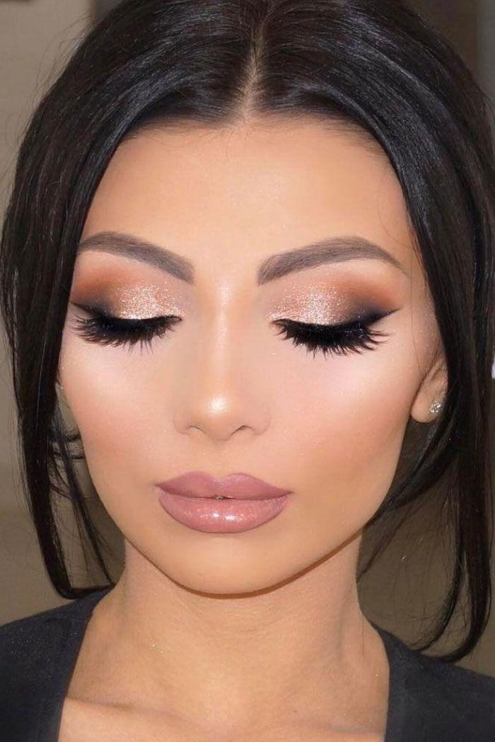 hochzeits make up in beige und braun, lockere hochsteckfrisur, augenbrauenform