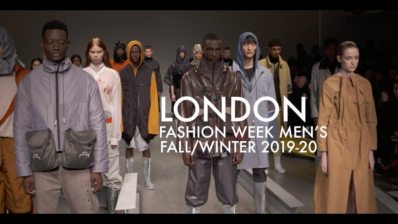 london fashion week, mode für männer, viele models auf der bühne stellen neue designs für herbst und winter 2019
