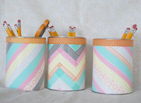 Washi Tape Deko Ideen, Bastelideen für jung und alt, Bleistifte lagern in schönen Kasten