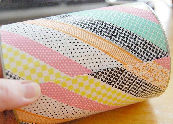 Washi Tape Bastelideen zum Entlehnen, Stifthalter oder Deko für den Schreibtisch mit buntem Band gestalten