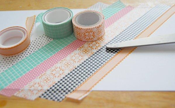 Bastelideen mit Washi Tape, buntes Klebeband zum Verzieren von Gegenständen, DIY Deko Ideen