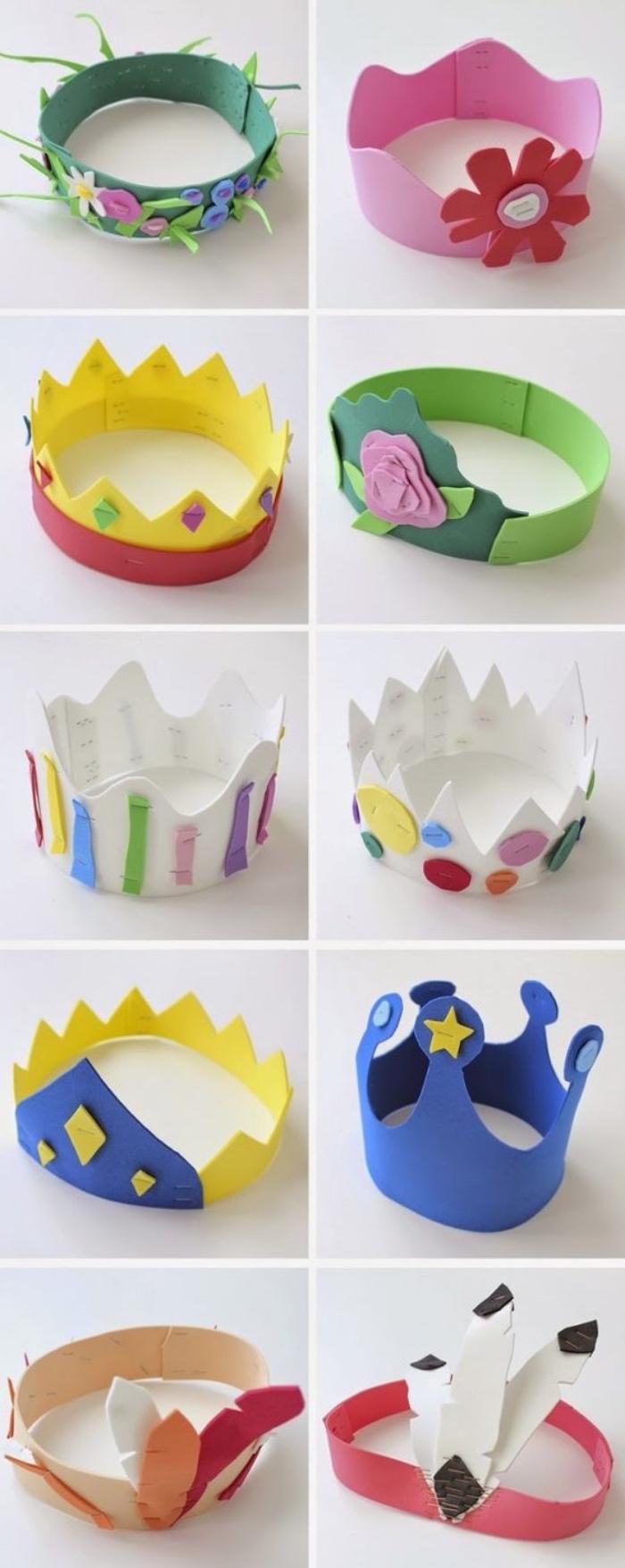 kreative Bastelideen für jede Saison, Krone selber basteln, Kronen aus Papier für Jungen und Mädchen