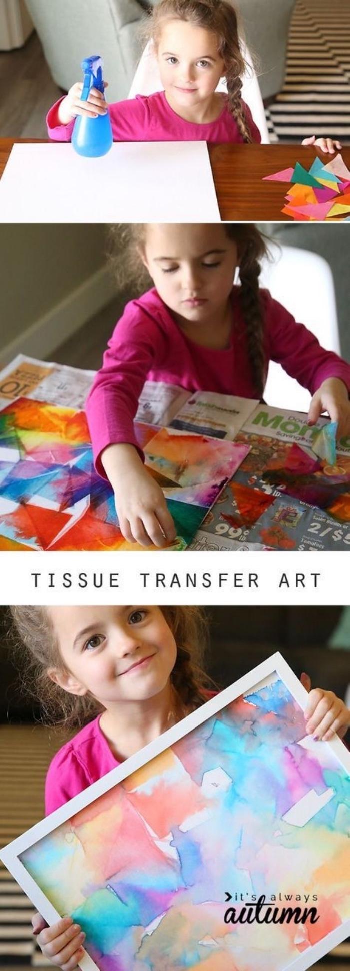 Basteln für Kinder Ideen zum Nachmachen, ein kleines Mädchen malt sein erstes Meisterwerk, Bild mit Wasserfarbe