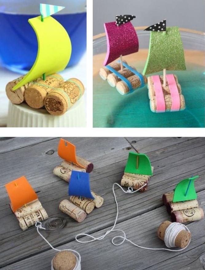 Basteln mit Kleinkindern, Schiff aus Korken selber machen, Faden, Flaschenobers, Papier, Spielzeug selber machen
