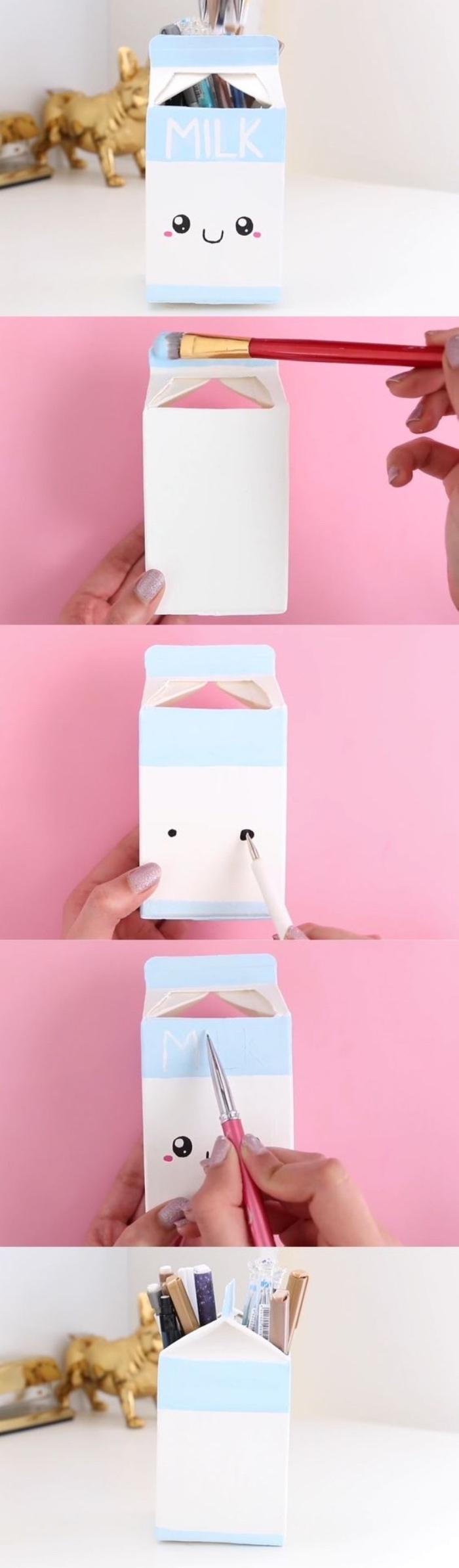 Basteltipps und Beispiele in Bildern, lustige Kasten Idee wie Milchdose mit Augen und netter Miene