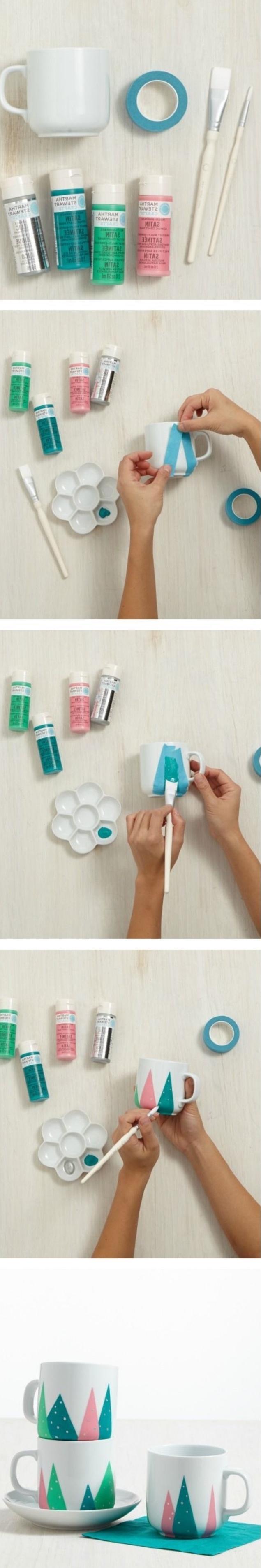 Basteltipps und Ideen wie Sie selber schöne Designs basteln und dekorieren, Glitter, Washi Tape, Tasse, Geduld