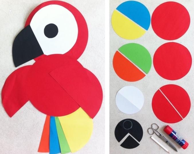 Basteltipps Papagai aus Papier basteln, rotes Papier als Vorlage, runde und halbrunde Stücke ausschneiden