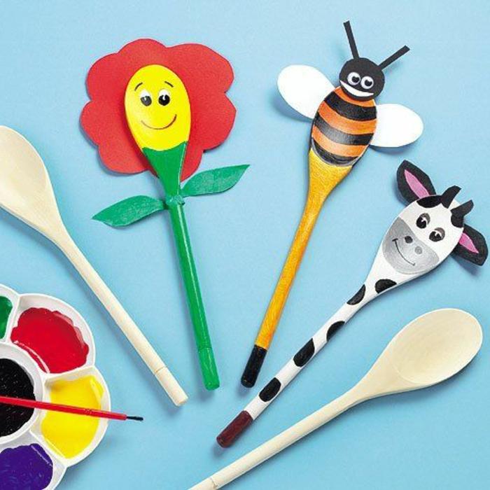 Basteln Kindergeburtstag, coole Ideen zum DIY Löffel in Form von verschiedenen Tieren, Giraffe, Biene, Blume, Wasserfarben