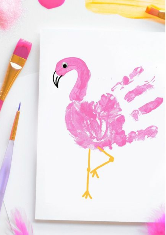 Basteltipps, Flamingo basteln, malen und genießen Handabdruck smart nutzen zu den Bastelprojekten, Zeichnen Flamingo malen mit Handabdrücken