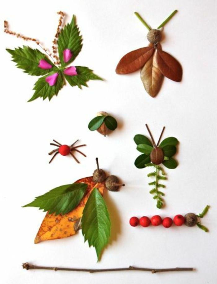 bastelvorlagen herbst zum ausdrucken, grüne blätte von verschiedenen bäumen sammeln und nette ideen damit verwirklichen