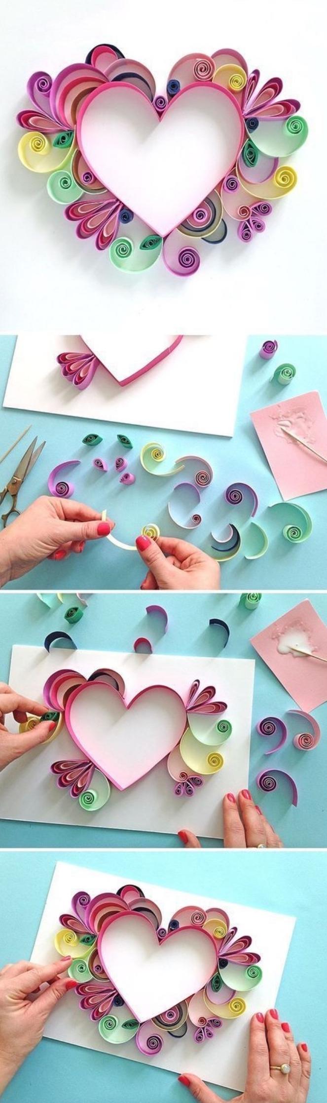Bastelanleitungen zu Ostern, Valentinstag oder Weinhanchtsbasteln Kinder haben Spaß mit Quilling, Herz falten aus Papier
