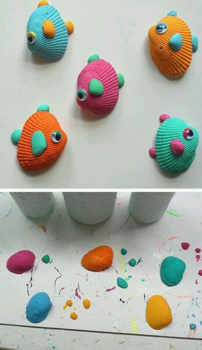 Basteln für Kinder, kleine Fische aus Muscheln und Farben gestalten, lustige Designs, Fisch bemalen und basteln