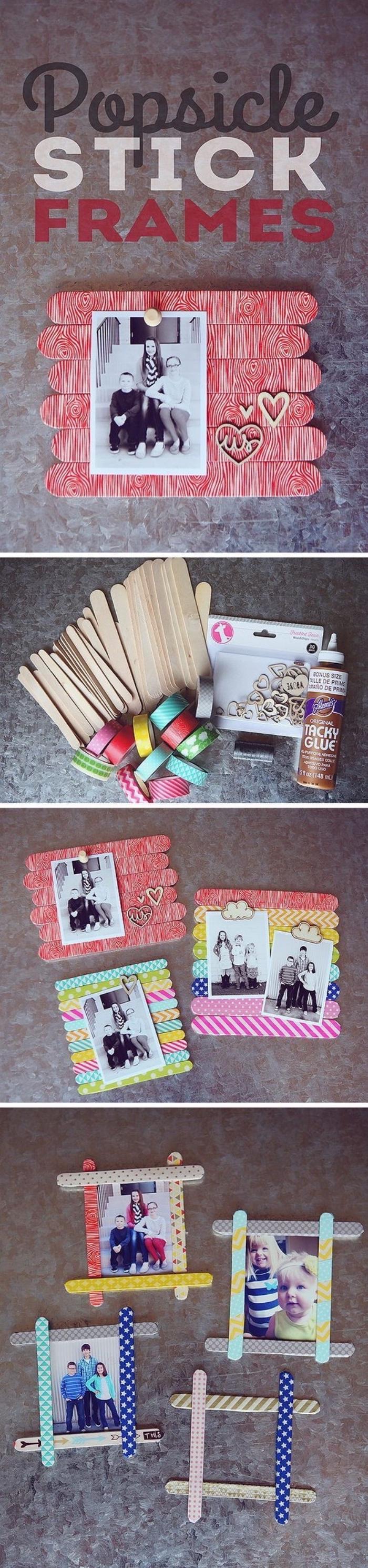 Basteln mit Kleinkindern, Bilderrahmen aus Eisstäbchen machen, einfache und schöne DIY Anleitungen
