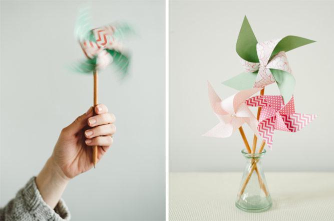 Bastelideen für Kinder, einfache Bastelanleitungsideen, Windmühle aus Papier und Bleistift, ein Glas mit vielen DIY Mühlen