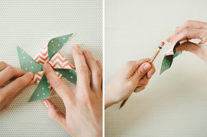 Bastelideen für Kinder, Windmühle aus Papier selber machen, einfache und schnelle Bastelanleitungen, buntes Papier, Bleistift als Basis