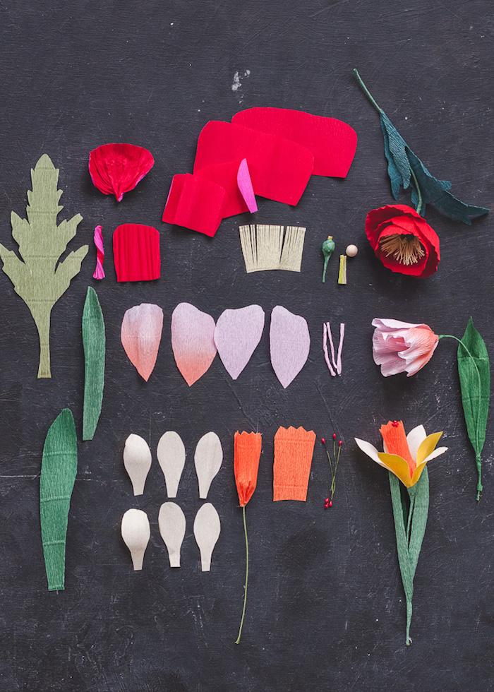 Bunte Frühlingsblumen aus Krepppapier selber machen, Tulpen und Narzissen, Teile für Blüten