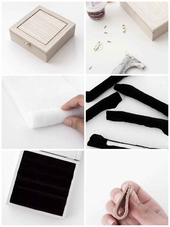 basteln muttertag, graue box aus holz, schwarzer stoff, schritt für schritt anleitung