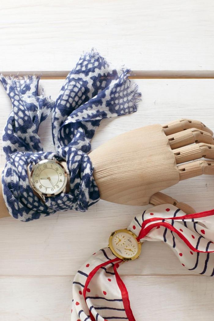 hand aus holz, armuhr aus tuch, basteln muttertag, selbstgemachte geschenke für frau