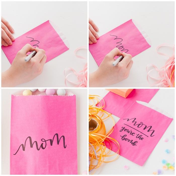 geschenk für frau verpacken, rosa papiertüte, schwarzer marker, basteln muttertag