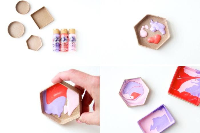 basteln zum muttertag, bunte farben, schmuckschalen selber machen, tutorial