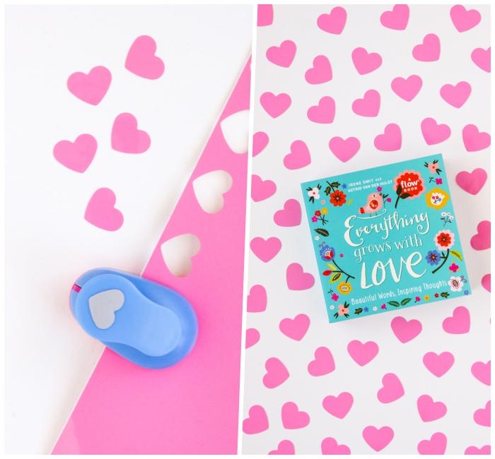 basteln zum muttertag, herzen ausschneiden, rosa papier, diy geschenk für frau
