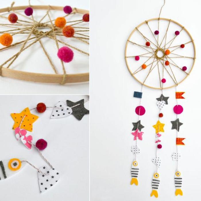 Kinder basteln Traumfänger nach Muster aber mit netten und bunte Anhöngern, Deko Ideen, Kinderideen
