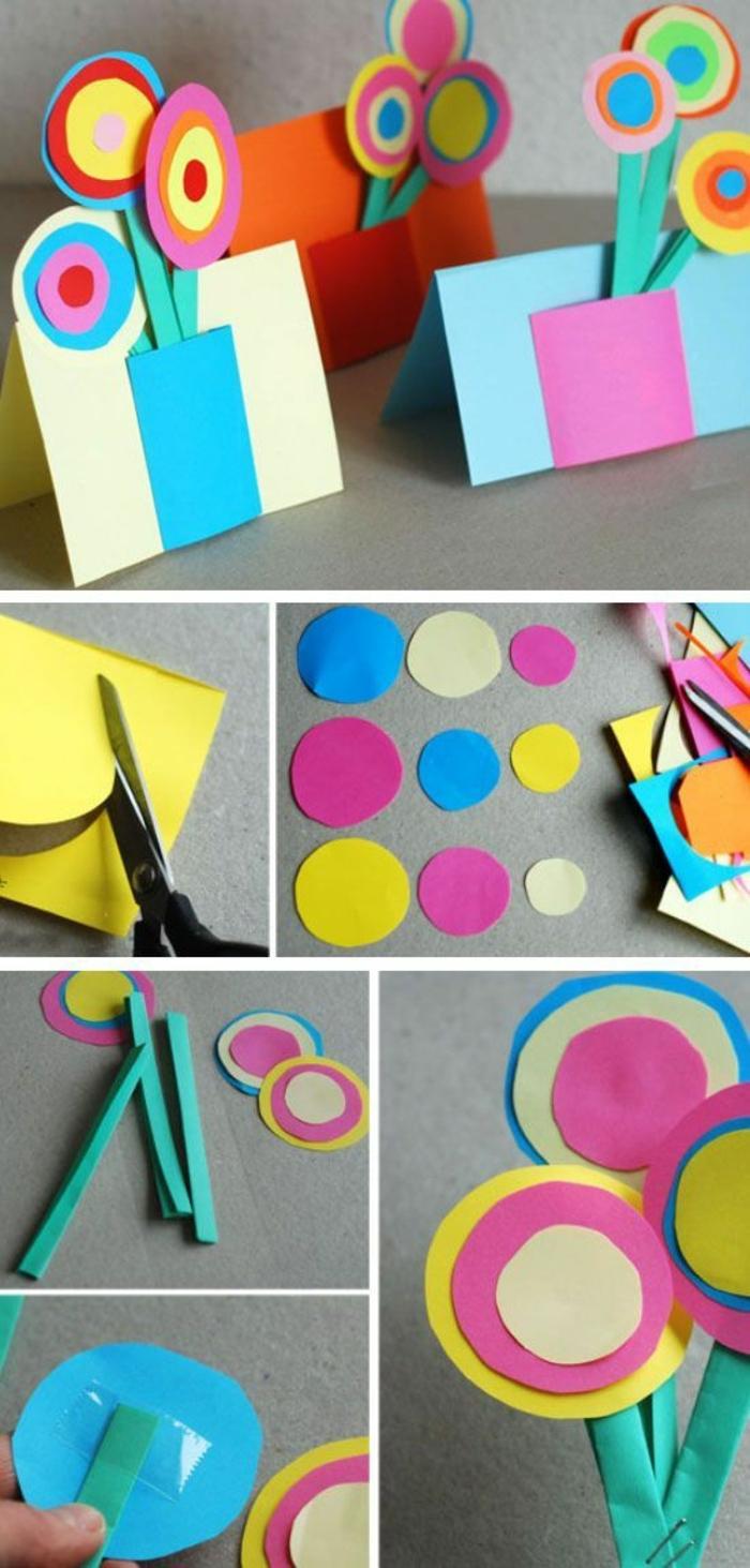 Kinder basteln mit Papier und Schere, buntes Papier zum Bastelideen und Deko, Vasen mit Blumen alles aus Stoff machen