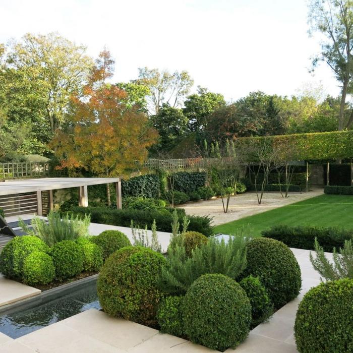 ein Rasen, Kugeln und kleine Ziersträuche, eine hohe Hecke, ein bisschen Wasser und ein niedriges Häuschen, moderne Gartengestaltung