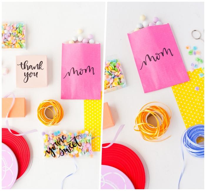 besondere muttertagsgeschenke, rosa papiertüten dekoriert mit schwarzem marker