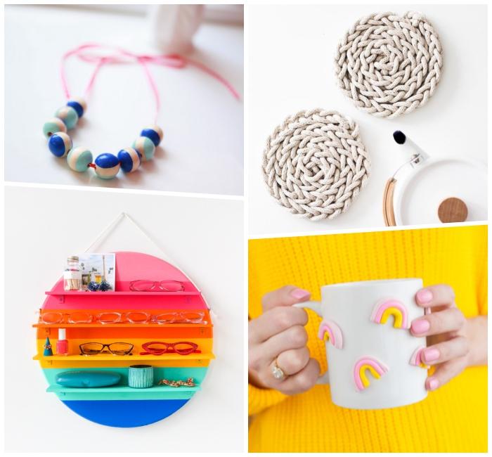 halskette aus holzperlen, brillegestell in den farben des regenbogens, besondere muttertagsgeschenke, tassenuntersetzer