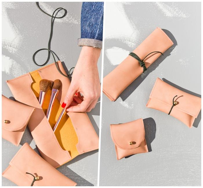 besondere muttertagsgeschenke zum selbermachen, basteln mit leder, taschen für schmuckpinsel