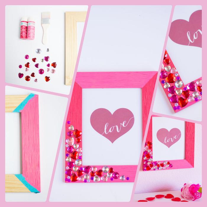 Valentinstag Geschenk selber machen, Holzrahmen rosa färben, rote und weiße Kristallherzen kleben